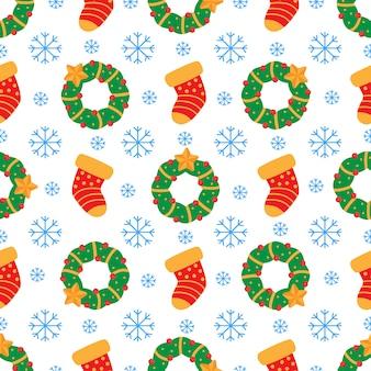Helder kerstmis naadloos patroon met kroon en sok.