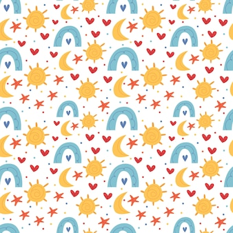Helder kinderpatroon in bohostijl. zon, maan, sterren, regenboog. decor voor een kinderkamer. illustratie voor kinderboek. leuke poster. eenvoudige illustratie.
