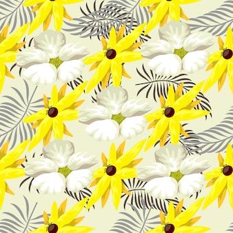 Helder kleurrijk en leuk tropisch naadloos patroon