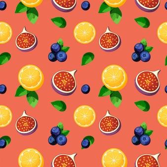 Helder kleurrijk tropisch vruchtenmengsel naadloos patroon met citroen, fig., bosbessen en bladeren