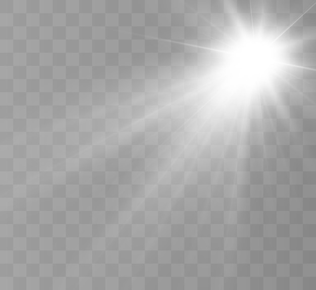 Helder lichteffect met stralen en hoogtepunten voor vectorillustratie