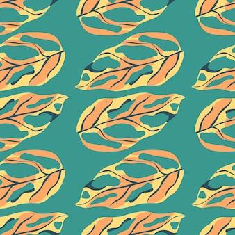 Helder monstera exotisch blad naadloos patroon, tropische print in oranje en gele kleuren op turkooizen achtergrond. Premium Vector
