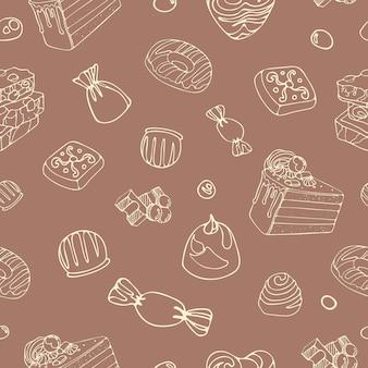 Helder naadloos patroon dessertvoedsel heerlijke stukjes melkchocoladesuikergoed