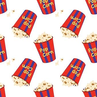 Helder naadloos patroon met een feestelijke doos met popcornprint voor de bioscoopfilmindustrie
