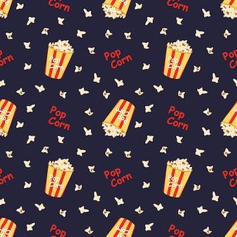 Helder naadloos patroon met een feestelijke doos met popcornwoorden en spot schattige print voor bioscooptheater...