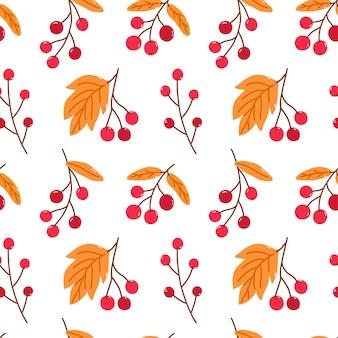 Helder naadloos patroon met herfstbessen en gouden bladeren