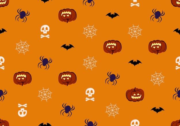 Helder naadloos patroon met pompoenenschedels en spinnen feestelijke herfstdecoratie voor halloween hol...