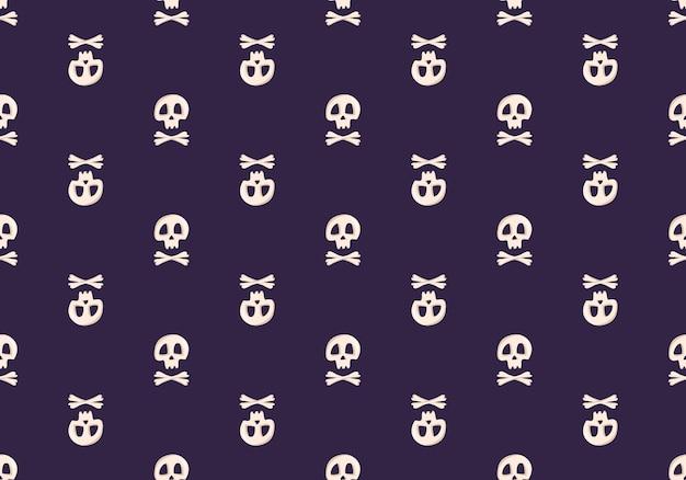 Helder naadloos patroon met schedels en gekruiste knekels op een donkere achtergrond, modeprint voor kinderfeestjes...