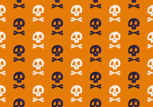 Helder naadloos patroon met schedels en gekruiste knekels op oranje achtergrondmodedruk voor kinderfeestje...