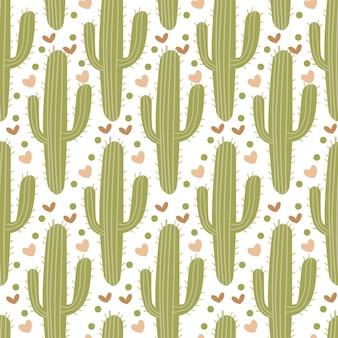 Helder naadloos patroon met verschillende cactus