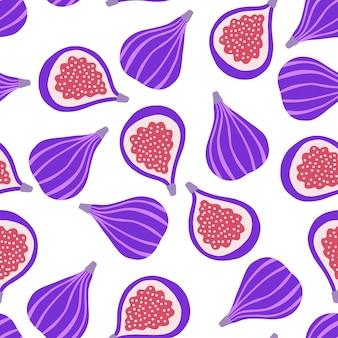 Helder naadloos patroon met vijgen tropisch naadloos patroon met rijpe vijgen op een witte achtergrond