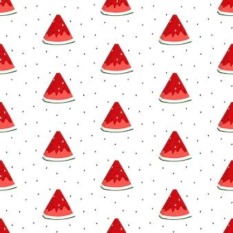 Helder naadloos patroon met watermeloenplakken.