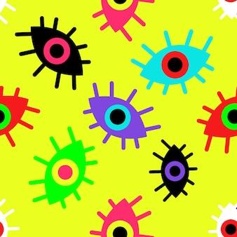 Helder naadloos patroon van abstracte ogen op een gele vectorillustratie als achtergrond
