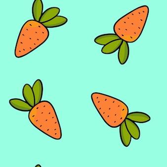 Helder naadloos patroon van oranje wortelen op een blauwe achtergrond.