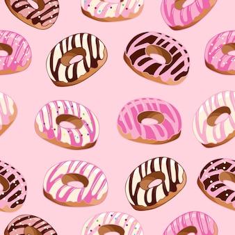 Helder naadloos patroondessertvoedsel heerlijke stukjes melkchocoladesuikergoed
