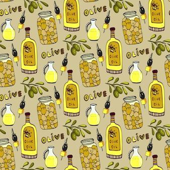 Helder olijven naadloos patroon. olijftak, oliefles en pot. vector doodle achtergrond.