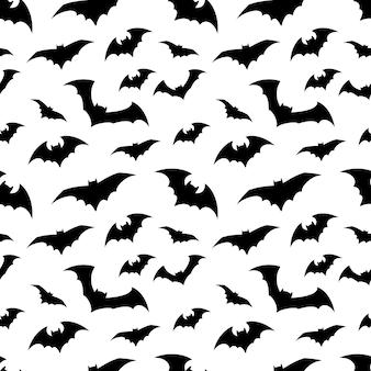 Helder patroon met zwarte vleermuizen