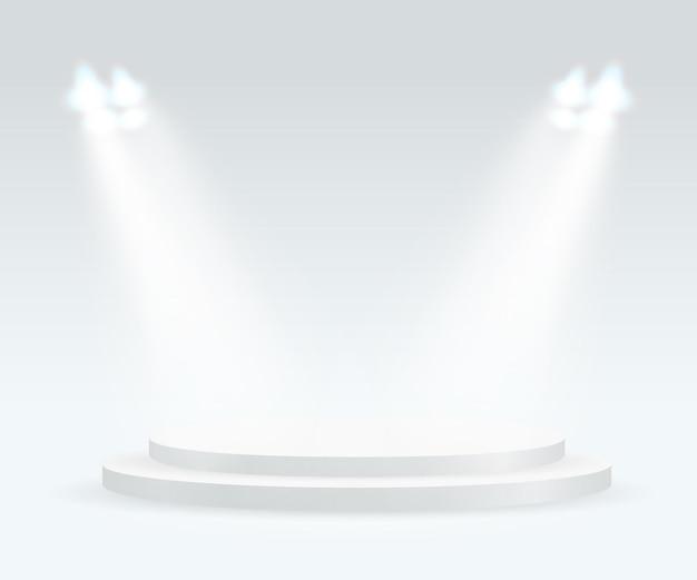 Helder podium met spots