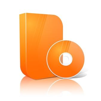 Helder realistische oranje geïsoleerde dvd, cd, blue-ray glad gevormde doos met dvd, cd-schijf