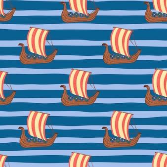 Helder rood gekleurde boot vormt naadloze doodle patroon. blauwe gestripte achtergrond.