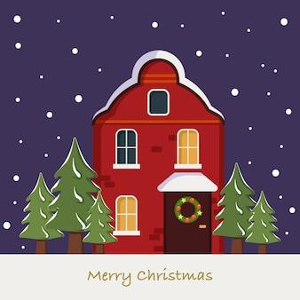 Helder schattig rood huis op kerstkaart winterlandschap met sneeuwvlokken en sparren