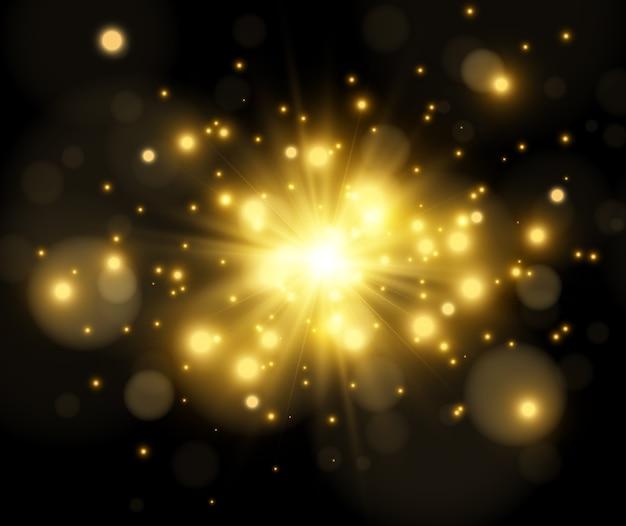 Helder sterlichteffect dat op donker wordt geïsoleerd