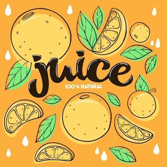 Helder stickerembleem en logo voor vers sap van citrusvruchten