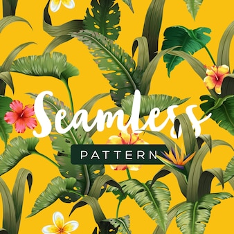 Helder tropisch naadloos patroon met jungleplanten. exotische achtergrond met palmbladeren. illustratie