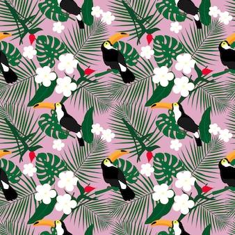 Helder tropisch naadloos patroon met toekan en tropische bladeren.