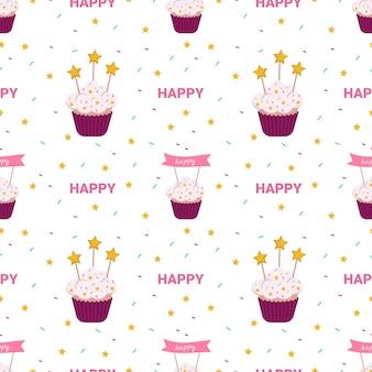 Helder vakantiepatroon met cakes, sterren en andere ontwerpelementen op witte achtergrond. leuke print van een prinsessenfeestje met heerlijk dessert. geschikt voor textiel, inpakpapier, ansichtkaarten. geen dieetdag