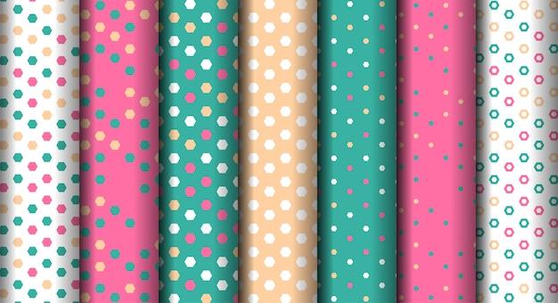 Helder verschillende geometrische kleurrijke naadloze patroon instellen