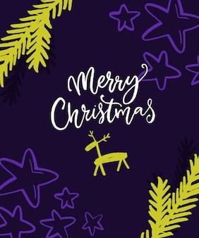 Helder vrolijk kerstkaartontwerp. violette en neon groene kleuren met handgeschreven inscriptie, herten en sparren takken.