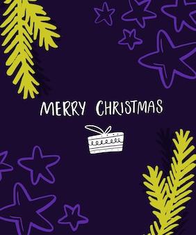 Helder vrolijk kerstkaartontwerp. violette en neongroene kleuren met handgemaakte inscriptie en sparren takken.