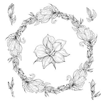Helder zwart-wit bloemen bloemenkader met magnoliabloemen.