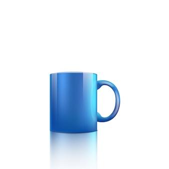 Helderblauwe kop met glanzend realistisch oppervlak dat op witte achtergrond wordt geïsoleerd