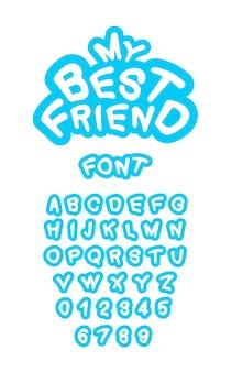 Helderblauwe moderne letters set. lettertype en cijfers. typografie lettertype voor printontwerp of logo's. trendy kinderen alfabet.