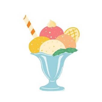 Heldere balletjes yoghurtijs in kom ijssalon wafelrolletjes en wafel bevroren balletjes