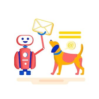 Heldere banner moderne levering correspondentie. e-mailmarketing trekt effectief aan om noodzakelijke acties uit te voeren. hond is op zoek naar robot die glimlacht en brief houdt. illustratie.