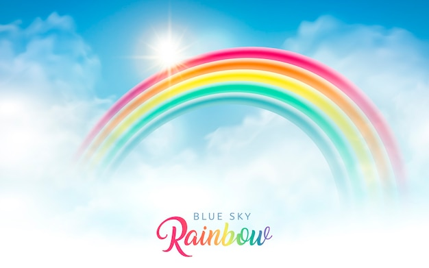 Heldere blauwe hemel met mooie regenboog, achtergrondontwerp