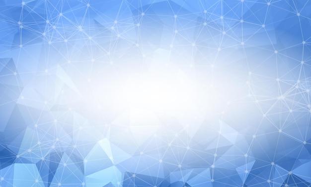 Heldere blauwe laag poly achtergrond. veelhoekig ontwerppatroon. helder mozaïek modern geometrisch ontwerp, creatieve ontwerpsjablonen. verbonden lijnen met stippen.