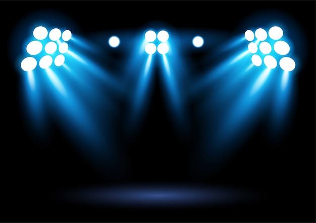 Heldere blauwe stadion arena verlichting spotlight