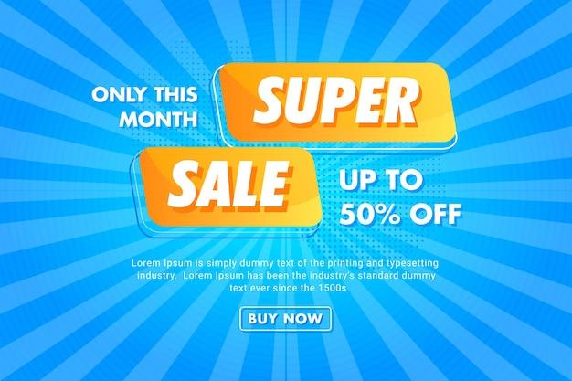 Heldere blauwe stralen super sale-bannersjabloon premium vector