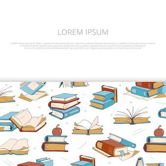 Heldere boeken schets banner voor winkel