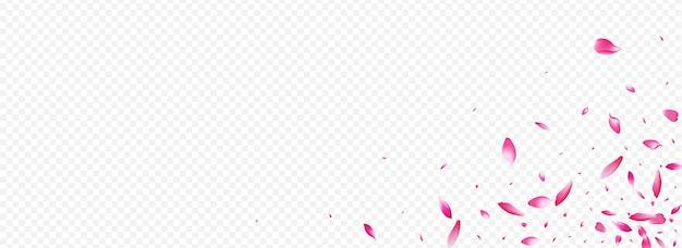 Heldere boom vector panoramisch transparante achtergrond. bloemblaadje naar beneden kaart. lotus overlay-textuur. kers lente illustratie. rode perzik hemel banner.