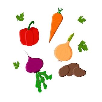 Heldere cartoon supermarkt mand icoon vol met producten en groenten. platte vectorillustratie.