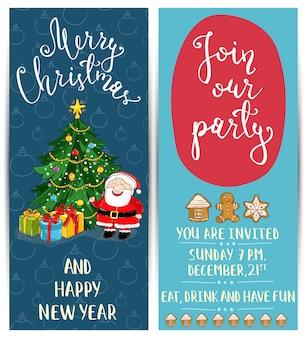 Heldere cartoon uitnodiging op leuk kerstfeest