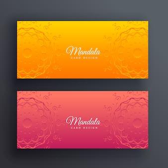 Heldere decoratieve mandala banners vector