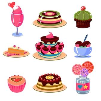 Heldere dessertpictogrammen geplaatst vectorillustratie