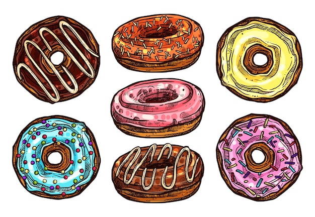 Heldere en kleurrijke set van donuts in schetsstijl. verzameling van hand getrokken dessert