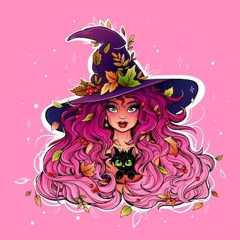 Heldere en kleurrijke tekening van een heksenmeisje